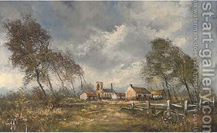A rustic landscape, with a church and buildings beyond by Continental School - Reproduction Oil Painting
