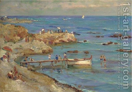 A summer day at the beach by Continental School - Reproduction Oil Painting