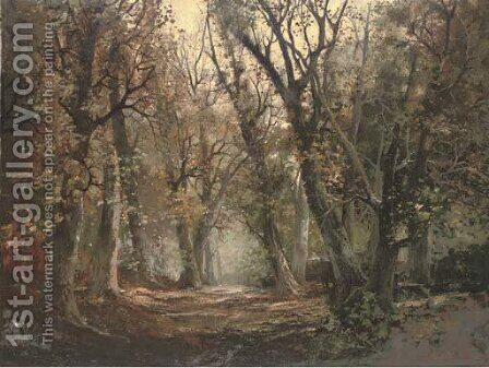A wooded landscape by Continental School - Reproduction Oil Painting