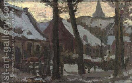 Buildings in the snow by Continental School - Reproduction Oil Painting