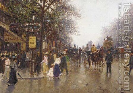 Carriages and figures outside the Moulin Rouge by Continental School - Reproduction Oil Painting