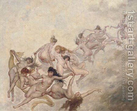 Desporting nymphs by Continental School - Reproduction Oil Painting