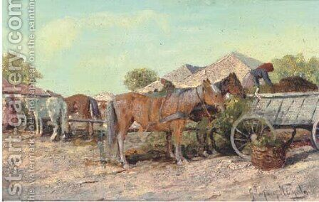 Feeding the horses by Continental School - Reproduction Oil Painting