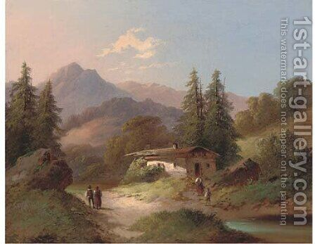 Figures by a chalet, in an Alpine landscape by Continental School - Reproduction Oil Painting