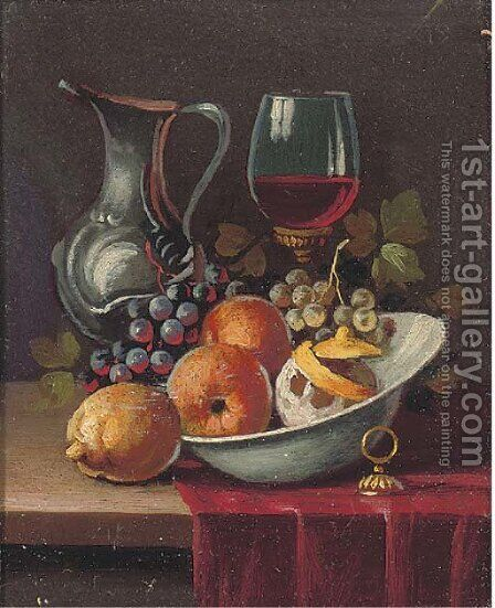 Oranges in a bowl, with grapes, a glass of wine and a ewer to the side by Continental School - Reproduction Oil Painting