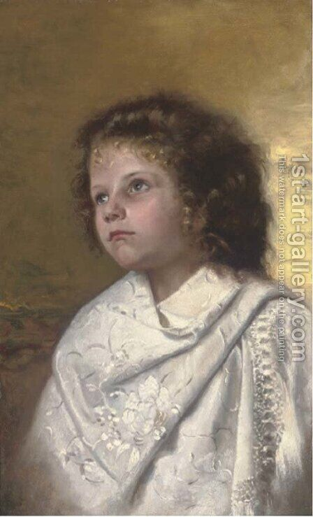 Portrait of a young girl by Continental School - Reproduction Oil Painting