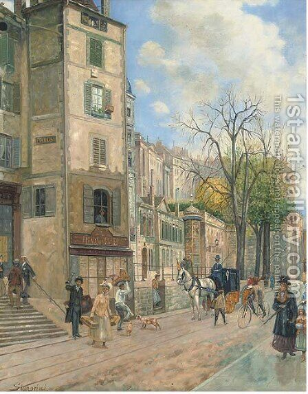 A busy street, early spring by Continental School - Reproduction Oil Painting