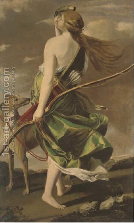 Diana the huntress by Continental School - Reproduction Oil Painting