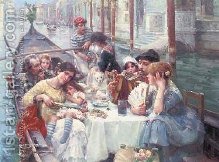 Lunch on the canal, Venice by Continental School - Reproduction Oil Painting