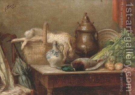 Hare, duck, cabbage, onions and a jug on a table by Continental School - Reproduction Oil Painting