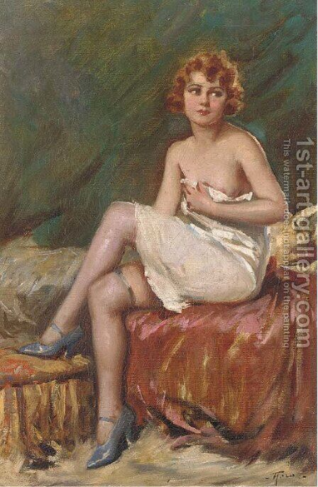The temptress by Continental School - Reproduction Oil Painting