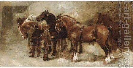 Percherons by Continental School - Reproduction Oil Painting