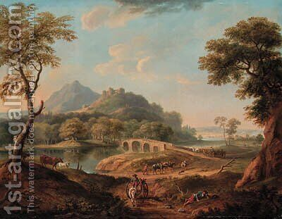 A wooded River Landscape, with figures by a bridge beneath a castle, a town beyond by Copplestone Warre Bamfylde - Reproduction Oil Painting