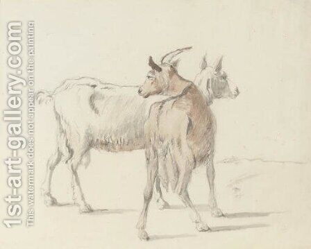 Study of goats by Coplestone Warre Bampfylde - Reproduction Oil Painting