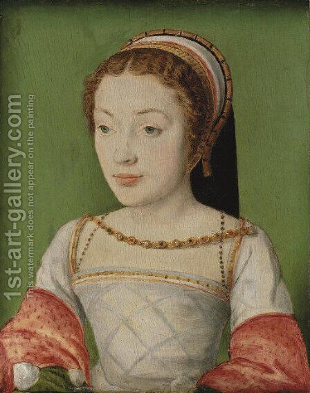 Portrait of Renee de France (1510-1574), bust-length, in a white dress with red sleeves, with a jewelled necklace and a head-dress by Corneille De Lyon - Reproduction Oil Painting