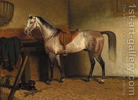 A saddled grey horse in a stable by Cornelis Albertus Johannes Schermer - Reproduction Oil Painting