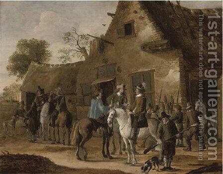 A hawking party at rest by an inn by Cornelis Beelt - Reproduction Oil Painting