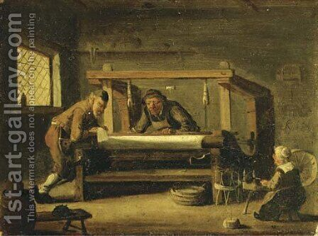 At the weaving workshop by Cornelis Beelt - Reproduction Oil Painting