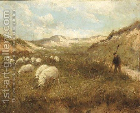 Duingezicht 'La Panne' guiding the flock through the dunes by Cornelis Christiaan Dommelshuizen - Reproduction Oil Painting
