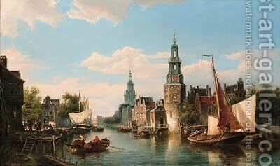 The Montelbaans Tower, Amsterdam by Cornelis Christiaan Dommersen - Reproduction Oil Painting