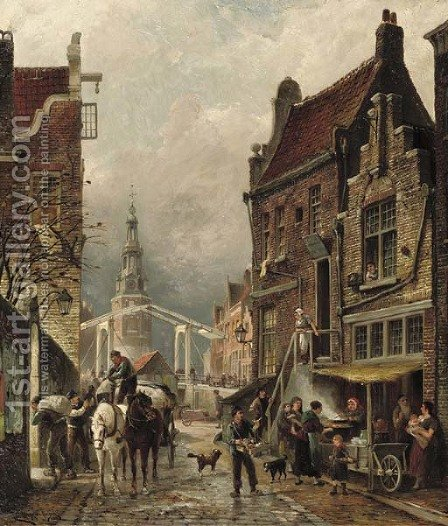Quartier Juif a view of the Jewish quarter with the Oudeschans and the Montelbaanstoren, Amsterdam by Cornelis Christiaan Dommersen - Reproduction Oil Painting