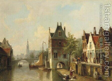 A capriccio view of a canal in Alkmaar by Cornelis Christiaan Dommersen - Reproduction Oil Painting