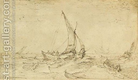 Fishing boats in a rough sea by Cornelis Claesz van Wieringen - Reproduction Oil Painting