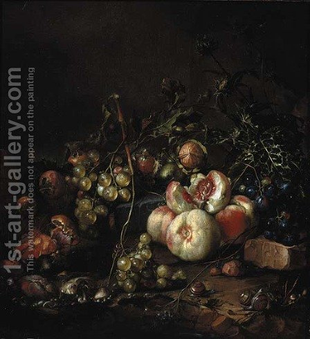 Peaches, grapes, walnuts, mushrooms, snails and a thistle, on a river bank by Cornelis De Heem - Reproduction Oil Painting