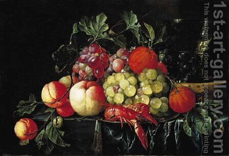 Peaches, oranges, grapes on the vine and crayfish on a pewter plate, with a roemer on a box on a partly draped stone ledge by Cornelis De Heem - Reproduction Oil Painting