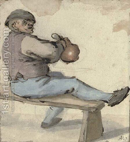 A seated drinker holding an earthenware pot by Cornelis Dusart - Reproduction Oil Painting
