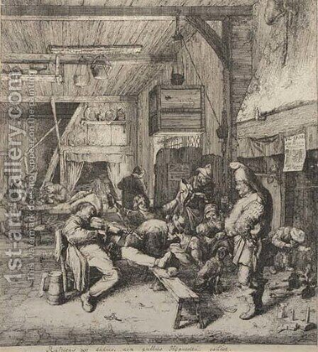 The violin player seated in the inn by Cornelis Dusart - Reproduction Oil Painting