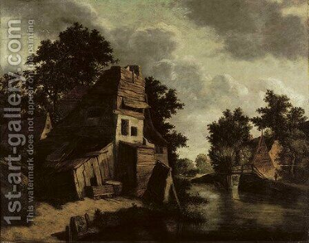A house in a wooded river landscape with a washerwoman in the foreground by Cornelius Decker - Reproduction Oil Painting