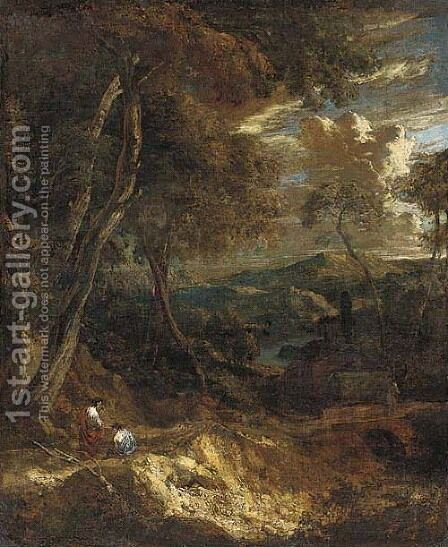 A wooded landscape with figures on a track by Cornelis Huysmans - Reproduction Oil Painting