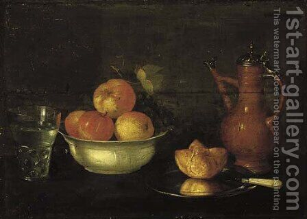 Apples and grapes in a porcelain bowl, a bread roll on a pewter plate, a glass of water and a jug on a wooden ledge. by Cornelis Jacobsz Delff - Reproduction Oil Painting