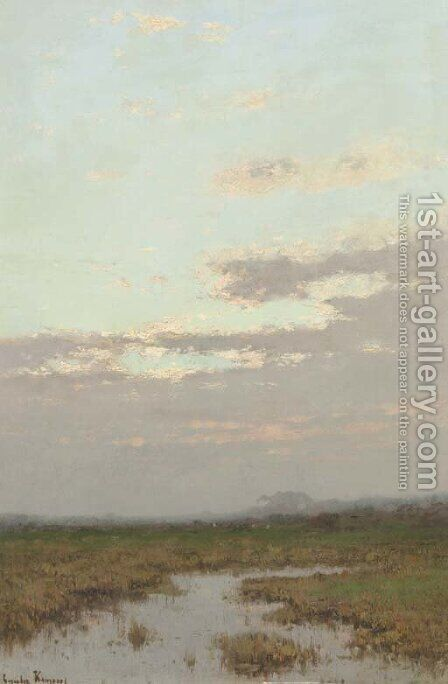 A hazy polder landscape by Cornelis Kuypers - Reproduction Oil Painting