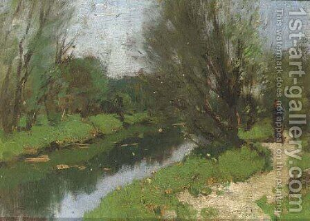 Walking along a stream by Cornelis Kuypers - Reproduction Oil Painting