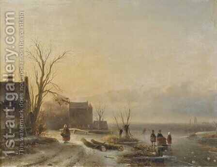 Figures on the ice at dusk by Cornelis Petrus T' Hoen - Reproduction Oil Painting