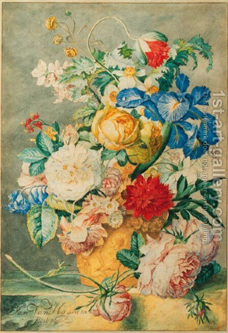 Flowers by Cornelis Ploos Van Amstel - Reproduction Oil Painting
