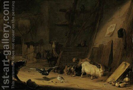 A barn interior with cattle, pigeons and a dog barking at a peasant by Cornelis Saftleven - Reproduction Oil Painting