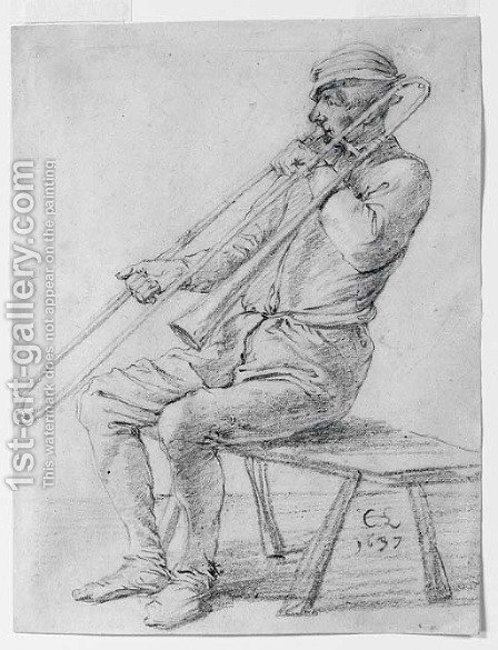 A seated man playing a sackbut by Cornelis Saftleven - Reproduction Oil Painting