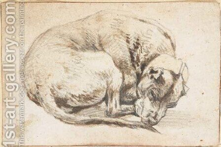 A sleeping dog by Cornelis Saftleven - Reproduction Oil Painting