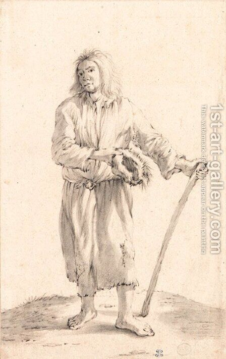 A standing peasant holding a hat and a stick by Cornelis Saftleven - Reproduction Oil Painting