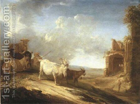 An open landscape with a herdsman, goats and a cow on a track, a ruin beyond by Cornelis Saftleven - Reproduction Oil Painting