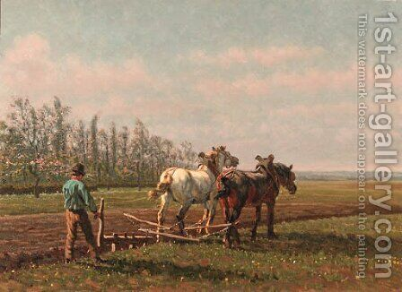 A plough team by Cornelis Schermer - Reproduction Oil Painting