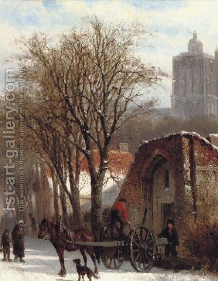 Brielle in winter unloading the 'Malle Jan' by Cornelis Springer - Reproduction Oil Painting