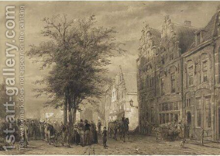 Markt te Oudewater a farmers market by Cornelis Springer - Reproduction Oil Painting