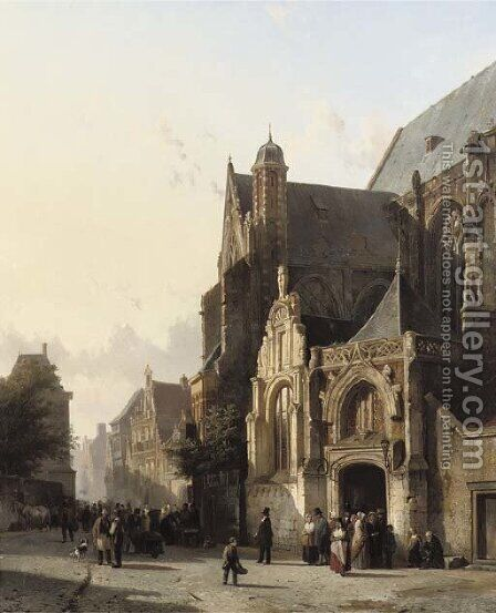 Numerous figures leaving church in a sunlit street by Cornelis Springer - Reproduction Oil Painting