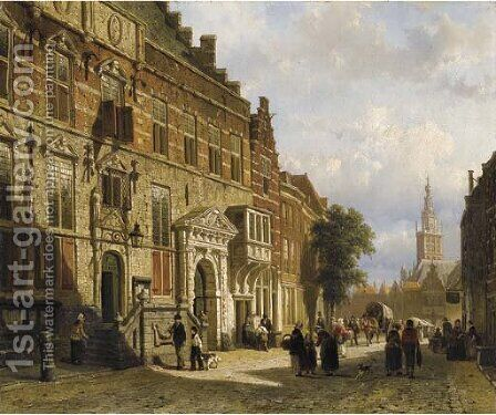 The Town Hall on the Burchtstraat with the St Stevenskerk beyond, Nijmegen by Cornelis Springer - Reproduction Oil Painting