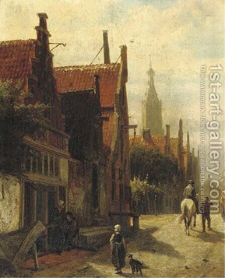 Townspeople on the Vijzelstraat, Enkhuizen by Cornelis Springer - Reproduction Oil Painting