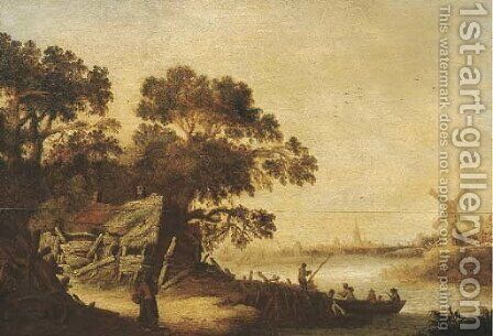 A wooded river landscape with figures at a landing stage by a farmhouse, a village beyond by Cornelis Tegelberg - Reproduction Oil Painting